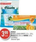Ricola Herbal Cough Drops (17's - 19's) - Buckley's (18's) or Honibe (10's) Lozenges