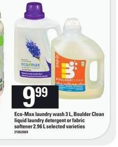 Eco-max Laundry Wash 3 L - Boulder Clean Liquid Laundry Detergent Or Fabric Softener - 2.96 L