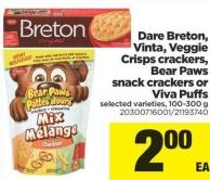 Dare Breton - Vinta - Veggie Crisps Crackers - Bear Paws Snack Crackers Or Viva Puffs - 100-300 g