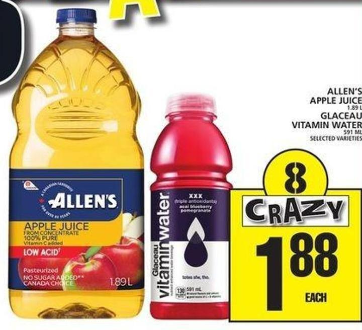 Allen's Apple Juice Or Glaceau Vitamin Water