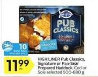 High Liner Pub Classics - Signature or Pan-sear Prepared Haddock - 10 Air Miles Bonus Miles