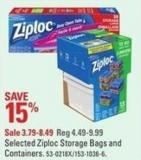 Selected Ziploc Storage Bags and Containers