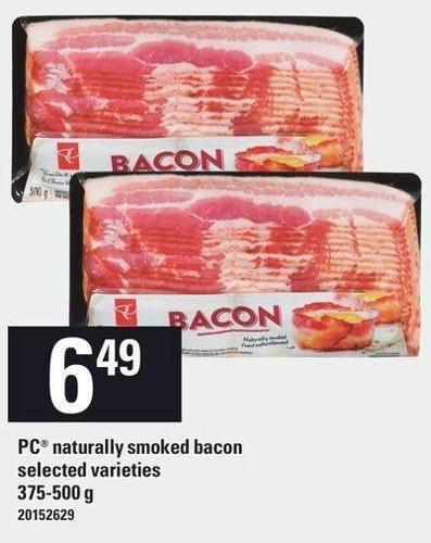 PC Naturally Smoked Bacon - 375-500 g