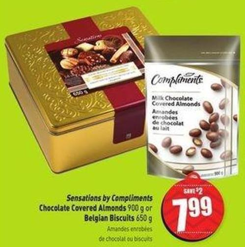 Sensations By Compliments Chocolate Covered Almonds 900 g or Belgian Biscuits 650 g