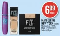 Maybelline New York Falsies Mascara or Fit Me! Make Up Products