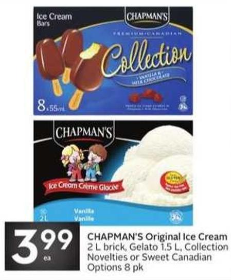 Chapman's Original Ice Cream 2 L Brick - Gelato 1.5 L - Collection Novelties or Sweet Canadian Options 8 Pk