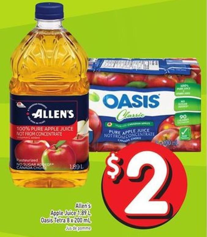 Allen's Apple Juice 1.89 L Oasis Tetra 8 X 200 mL