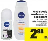 Nivea Body Wash - 500 mL or Deodorant - 43 G/50 mL