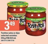 Tostitos Salsa Or Dips - 416 G/418/423 mL