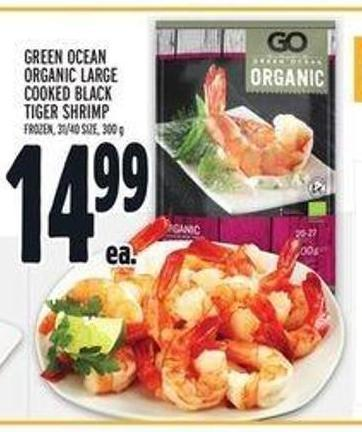 Green Ocean Organic Large Cooked Black Tiger Shrimp