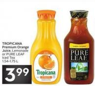 Tropicana Premium Orange Juice - Lemonade or Pure Leaf Iced Tea 1.54-1.75 L