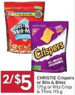 Christie Crispers or Bits & Bites 175g or Ritz Crisp & Thins 115 g