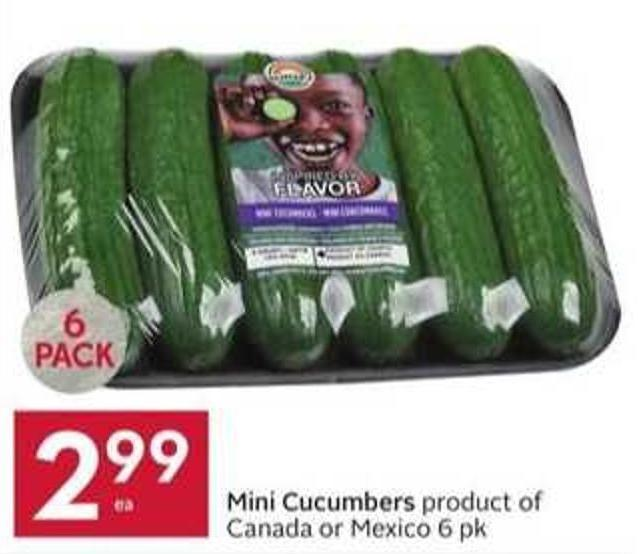 Mini Cucumbers Product of Canada or Mexico 6 Pk