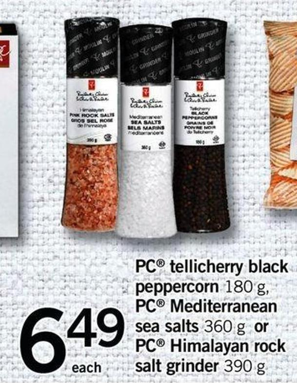 PC Tellicherry Black Peppercorn 180 G - PC Mediterranean Sea Salts 360 G Or PC Himalayan Rock Salt Grinder - 390 G