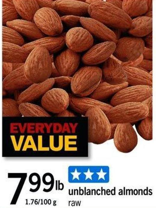 Unblanched Almonds - 1.76/100 G