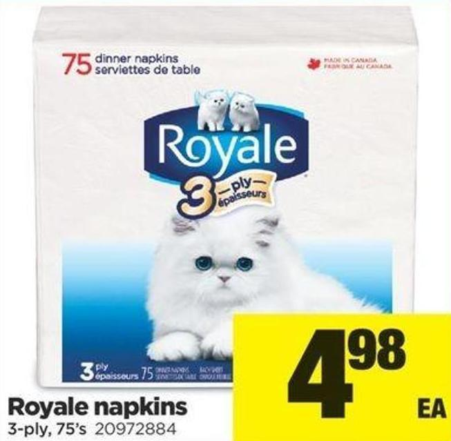 Royale Napkins - 3-ply - 75's