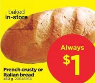 French Crusty Or Italian Bread - 450g