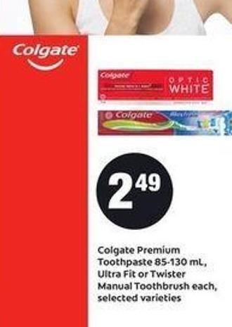 Colgate Premium Toothpaste 85-130 mL - Ultra Fit Or Twister Manual Toothbrush