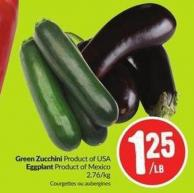 Green Zucchini Product of USA Eggplant