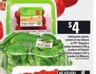 Hydroponic Green - Mixed Or Trio Lettuce Or PC Organics Grape Tomatoes - 255 G Organic Mini Peppers - 227 G