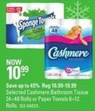 Spongetowels Selected Cashmere Bathroom Tissue 24=48 Rolls or Paper Towels 6=12 Rolls