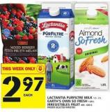 Lactantia Purfiltre Milk 1.5 - 2 L Or Earth's Own So Fresh 1.89 L Or Irresistibles Fruit Frozen 400 - 600 G