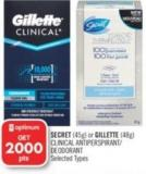 Secret (45g) or Gillette (48g) Clinical Antiperspirant/ Deodorant