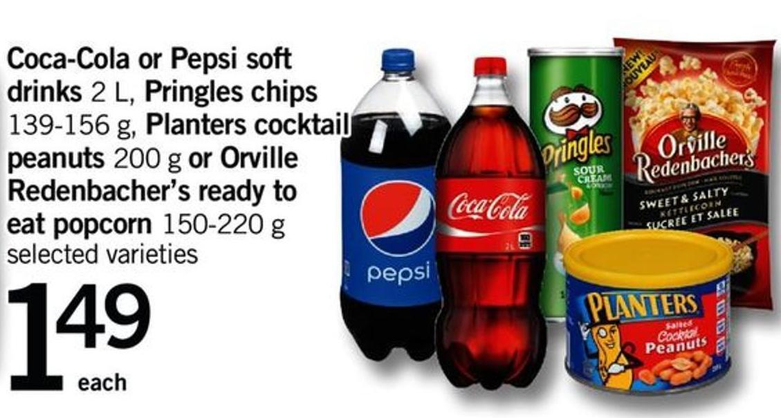 Coca-cola Or Pepsi Soft Drinks - 2 L - Pringles Chips - 139-156 G - Planters Cocktail Peanuts - 200 G Or Orville Redenbacher's Ready To Eat Popcorn - 150-220 G