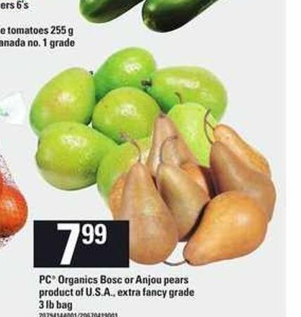 PC Organics Bosc Or Anjou Pears - 3 Lb Bag