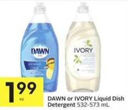 Dawn or Ivory Liquid Dish Detergent 532-573 mL