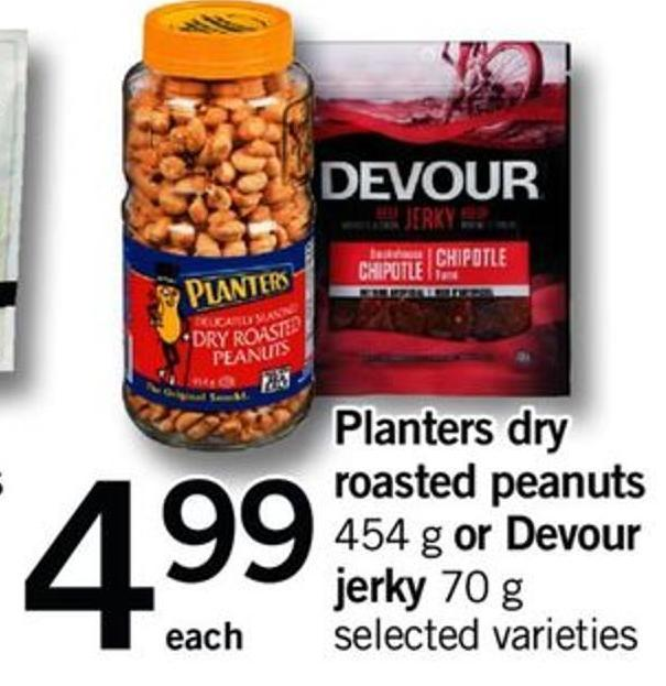 Planters Dry Roasted Peanuts - 454 G Or Devour Jerky - 70 G