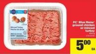 PC Blue Menu Ground Chicken Or Minced Turkey - 454 G