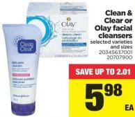 Clean & Clear Or Olay Facial Cleansers