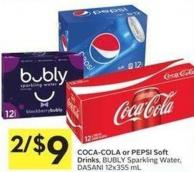 Coca-cola or Pepsi Soft Drinks - Bubly Sparkling Water - Dasani 12x355 mL