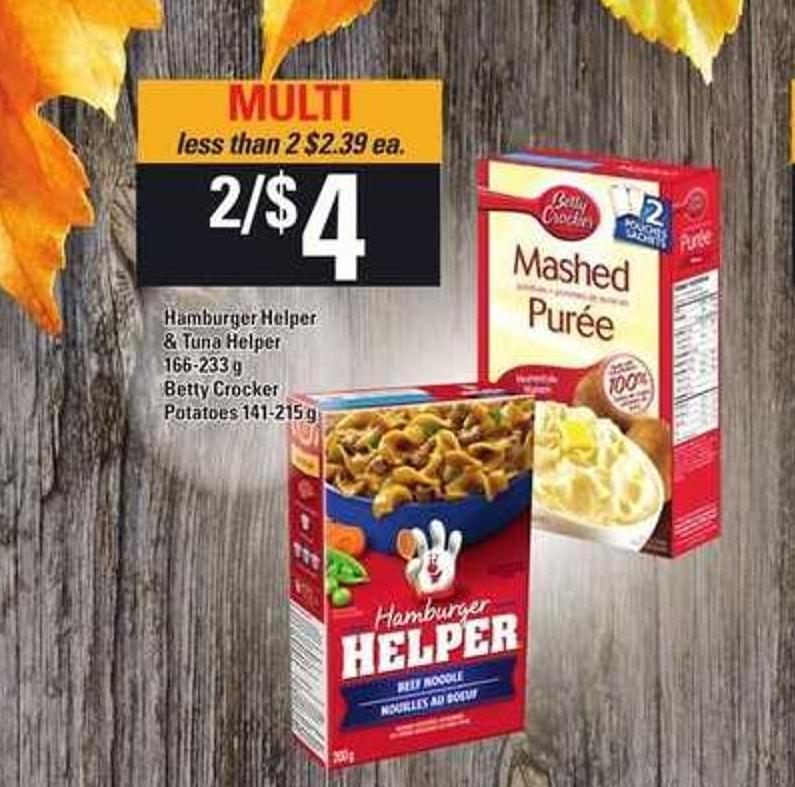 Hamburger Helper & Tuna Helper 166-233 g Betty Crocker Potatoes - 141-215 g