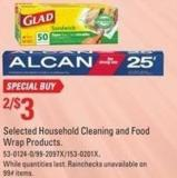 Selected Household Cleaning and Food Wrap Products