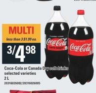Coca-cola or Canada Dry Soft Drinks - 2l