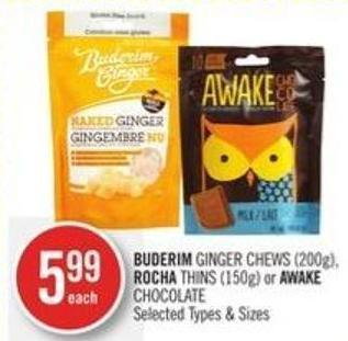 Buderim Ginger Chews (200g) - Rocha Thins (150g) or Awake Chocolate
