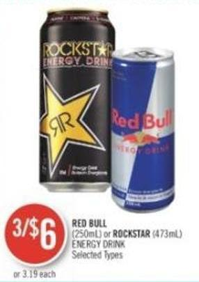 Red Bull (250ml) or Rockstar (473ml) Energy Drink