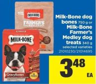 Milk-bone Dog Bones - 750 g Or Milk-bone Farmer's Medley Dog Treats - 340 g