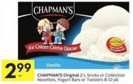 Chapman's Original 2 L Bricks or Collection Novelties - Yogurt Bars or Twisters 8-12 Pk