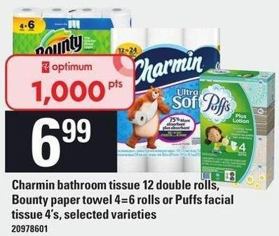 Charmin Bathroom Tissue 12 Double Rolls - Bounty Paper Towel 4=6 Rolls Or Puffs Facial Tissue 4's.