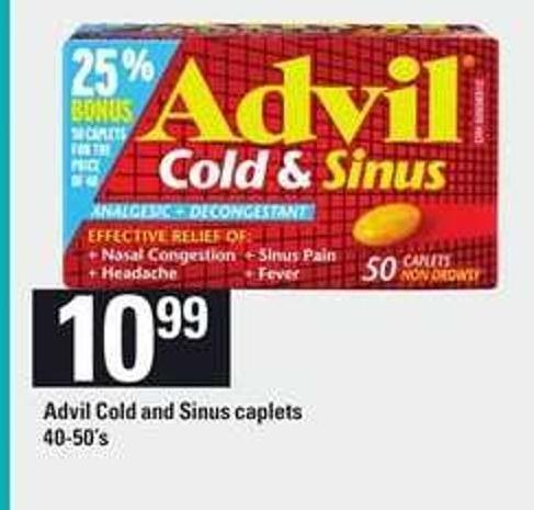 Advil Cold And Sinus Caplets - 40-50's