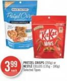 Pretzel Crisps (200g) or Nestlé Cellos (135g - 180g)