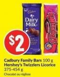 Cadbury Family Bars 100 g Hershey's Twizzlers Licorice 375-454 g