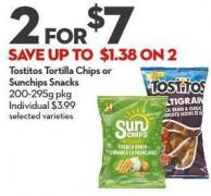 Tostitos Tortilla Chips or  Sunchips Snacks 200-295g Pkg