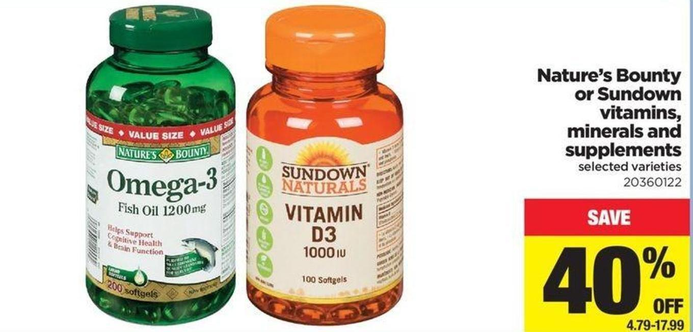 Nature's Bounty Or Sundown Vitamins - Minerals And Supplements