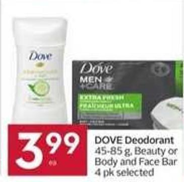 Dove Deodorant 45-85 g - Beauty or Body and Face Bar 4 Pk Selected