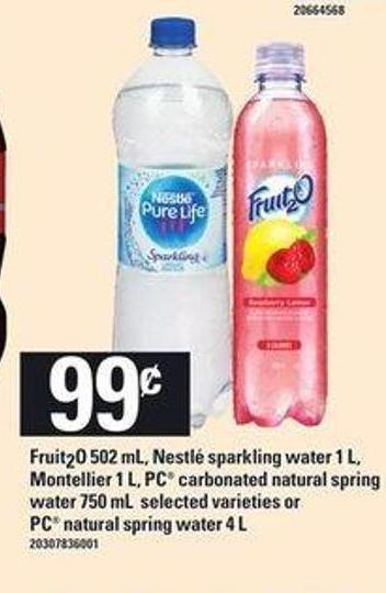Montellier - 1 L - PC Carbonated Natural Spring Water - 750 Ml Or PC Natural Spring Water - 4 L
