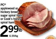 PC Applewood Or Hickory Brown Sugar Spiral Ham Or Cook's Honey Spiral Ham